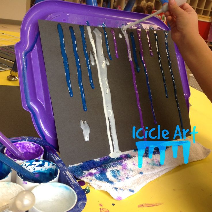 Icicle art for preschool. Great for winter theme or unit. Mix sparkly or plain tempera paint with glue and water to make a drippy consistency. Use pipettes to drip onto paper like dripping icicles. Can use liquid water color as well.
