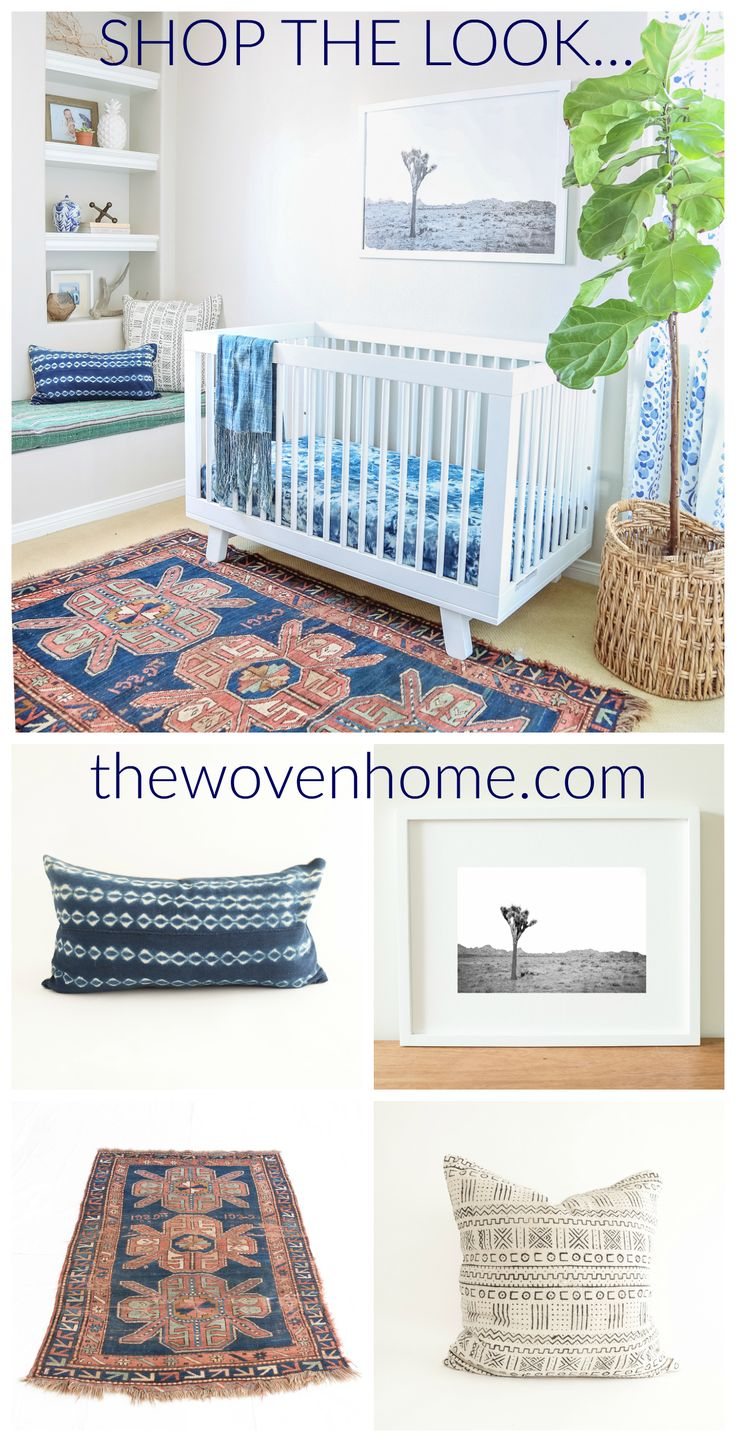 Shop the look at thewovenhome.com Featured Products: Joshua Tree Print White African Mudcloth Pillow Indigo Mudcloth Pillow ​Stella Rug