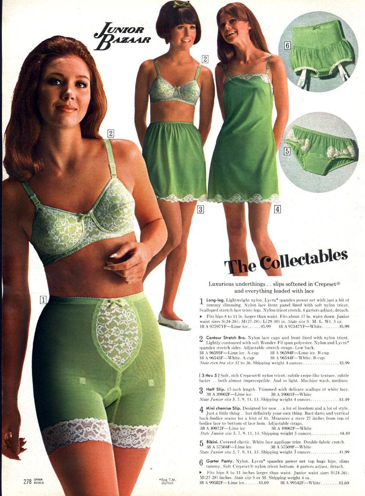 1960s Junior lingerie girdle bra panties slip green white lace color photo print ad models vintage fashion style