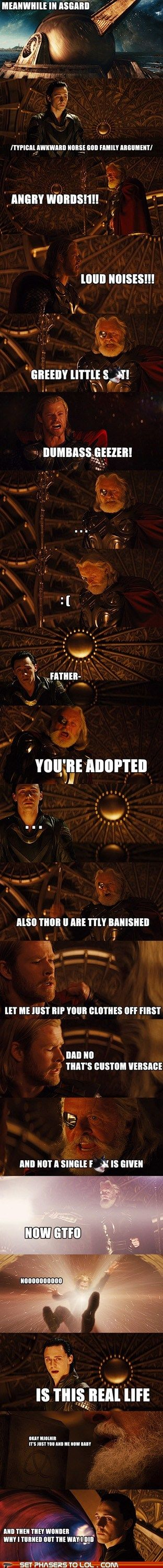 sum up of why odin, loki and thor are such a dysfunctional family... makes sense
