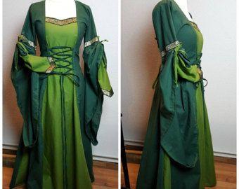 Vestido medieval, por encargo, vestido renacentista, Renfaire LARP, fantasía vestido Handfasting