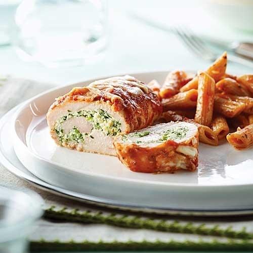 Ricotta Stuffed & Sauced Chicken Over Pasta | Recipe