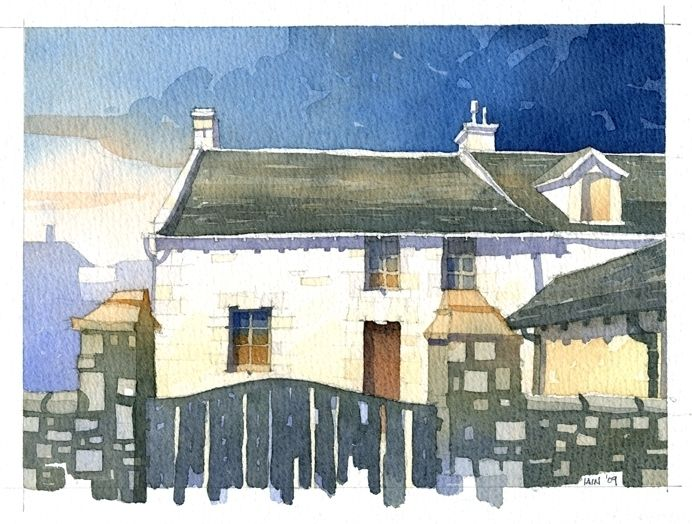 Abandoned Cottage Paisley Scotland by Iain Stewart Watercolor ~ 7 x 9
