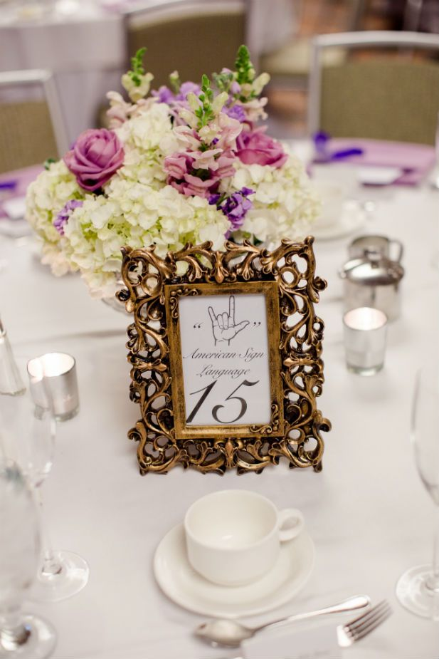 "Wedding table number ideas: Name each table the word ""love"" in different languages (Freeland Photography LLC)"