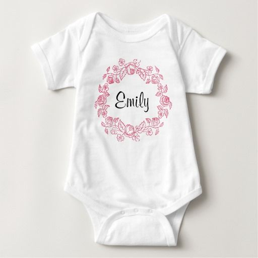 Monogram Floral Personalized Baby Bodysuit