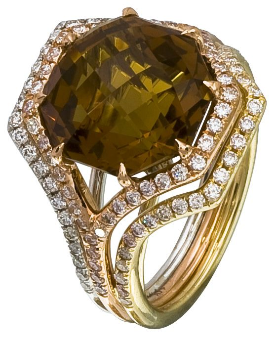 Diamond Ring, .74 Carat Diamonds 7.40 Carat Topaz on 14K Rose, White & Yellow Gold