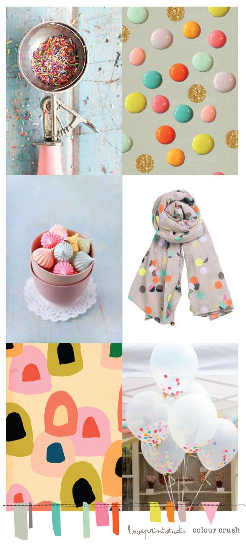 Here's the latest in my colour crush posts...   A little bit of a spots, dots, sprinkles and dolly mixture theme, yummy!    Love these imag...