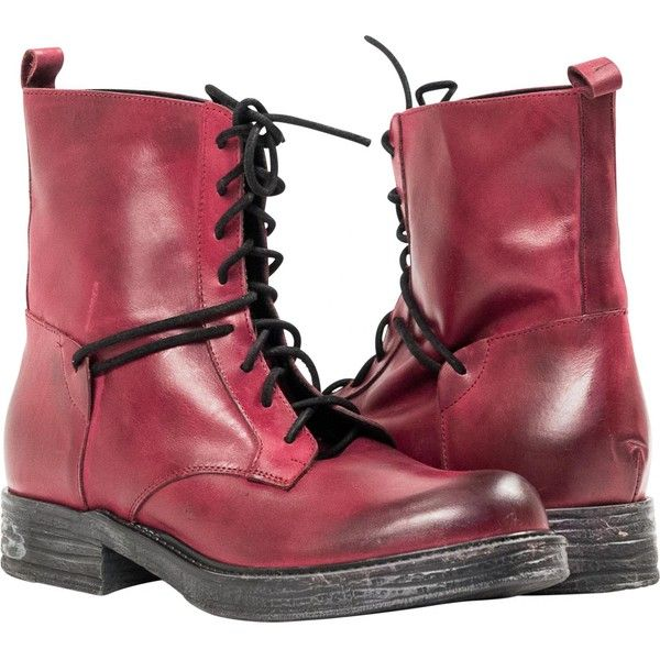 """PAOLO IANTORNO Erin Red """"Rogs"""" Leather Combat Boots ($199 ..."""