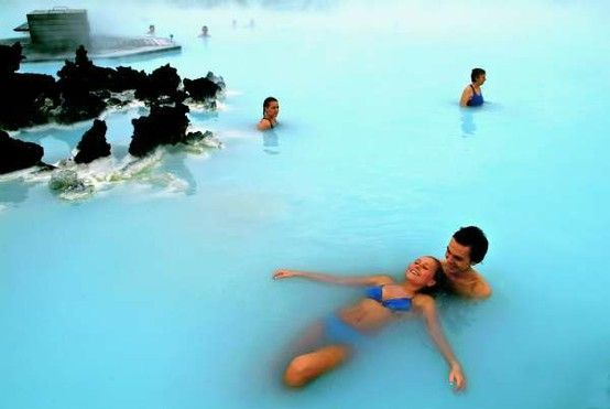 The Blue Lagoon, Iceland, is a geothermal spa. The outdoor bath remains 100-110°F year round. The natural ingredients of the warm water: mineral salts, white silica and blue green algae. These ingredients clean exfoliate, nourish