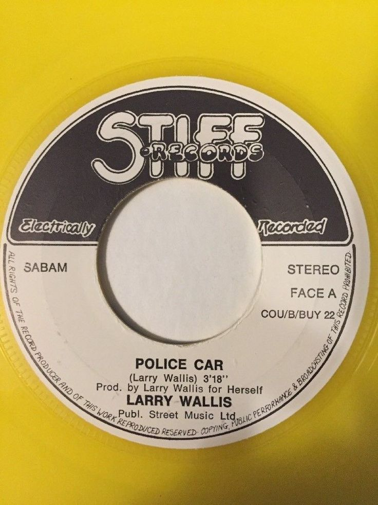 LARRY WALLIS POLICE CAR/ON PAROLE Yellow Vinyl Rare Belgium Press VG+ PS #HardRockPunkNewWaveRocknRoll