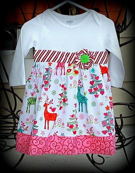 Infant Christmas Onesie Dress - Reindeer Baby Girl Christmas Onesie Dress - Infant Girl Holiday Dress. $21.00, via Etsy.
