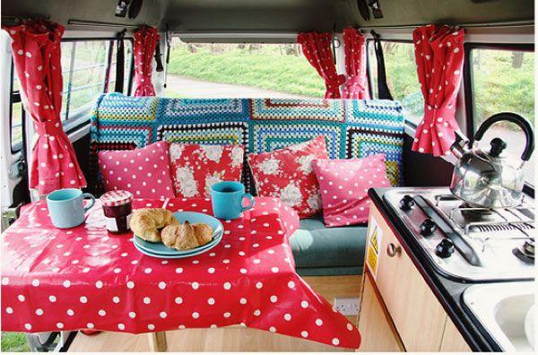 Restored camper: Crochet Blankets, Polka Dots, Vw Campers Vans, Vintage, Interiors, Campervan, Vw Bus, Roads Trips, Vw Vans