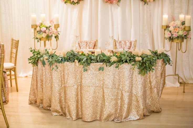 pink, gold and blush wedding reception decor - A Chico Event Center Wedding by Katelyn Owens Photography
