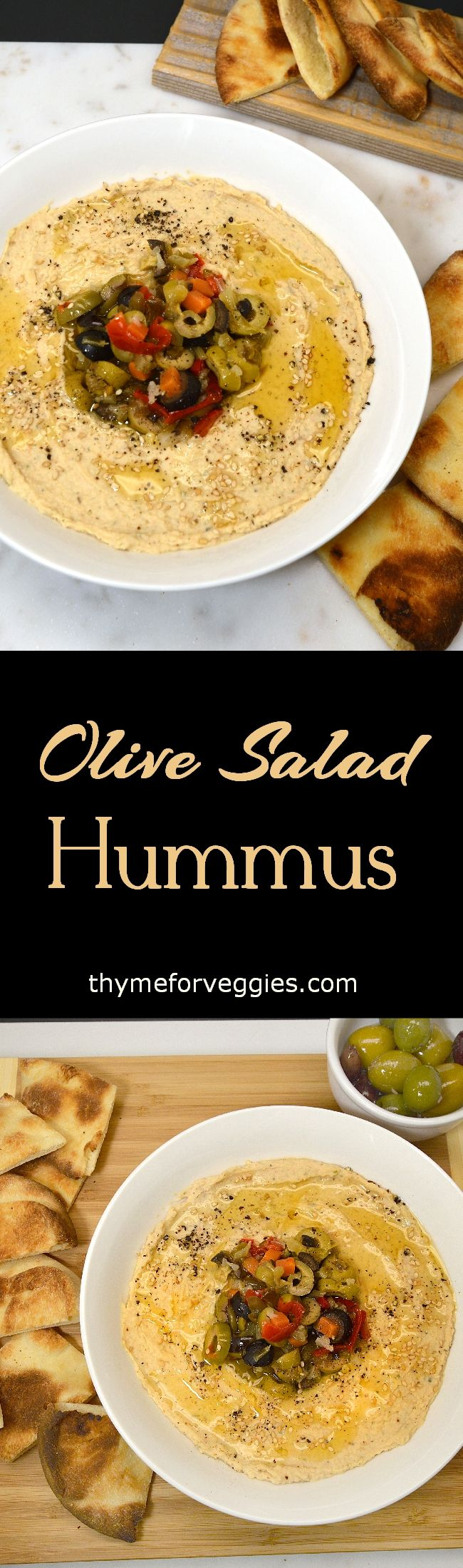 I never had a muffuletta (or muffaletta) sandwich before but I have had the olive salad that makes the sandwich. The signature olive salad consists of olives diced and mixed with celery, carrots, peppers and cauliflower that are pickled, also known as Giardiniera... #appetizer #dairyfree #hummus
