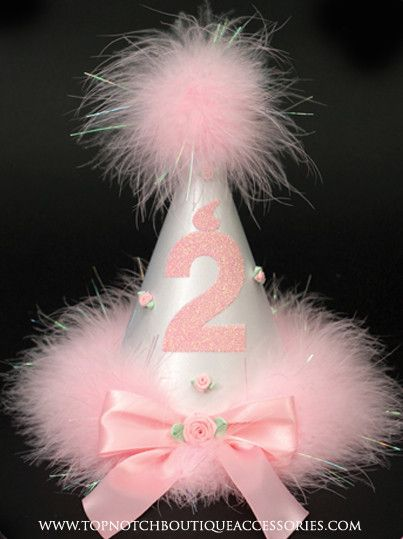 Girls 2nd Birthday Pink Marabou Party Hat. Handcrafted using fine bridal satin, trimmed marabou feathers and adorned with, ribbons, rosettes & a glitter # 2. Your hat is sure to be the hit of the part