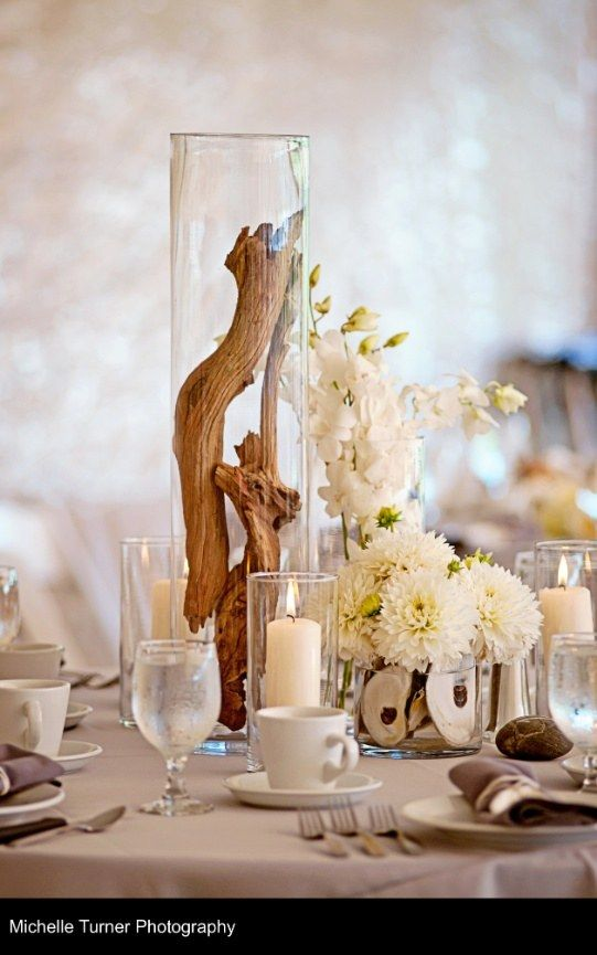 driftwood beach wedding centerpiece / http://www.deerpearlflowers.com/driftwood-wedding-decor-ideas/2/