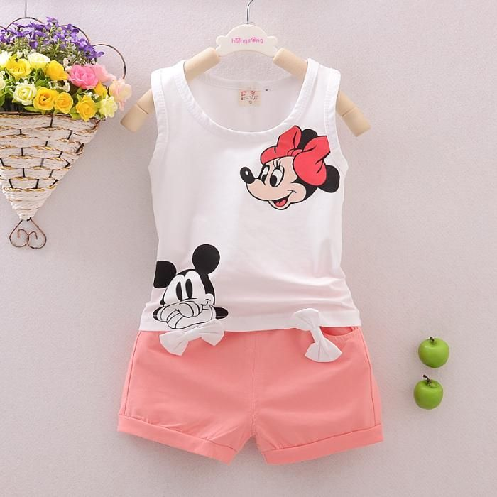 Kids Baby Girl Mickey Minnie Mouse Casual Party Vest Skirt Dress Toddler Clothes