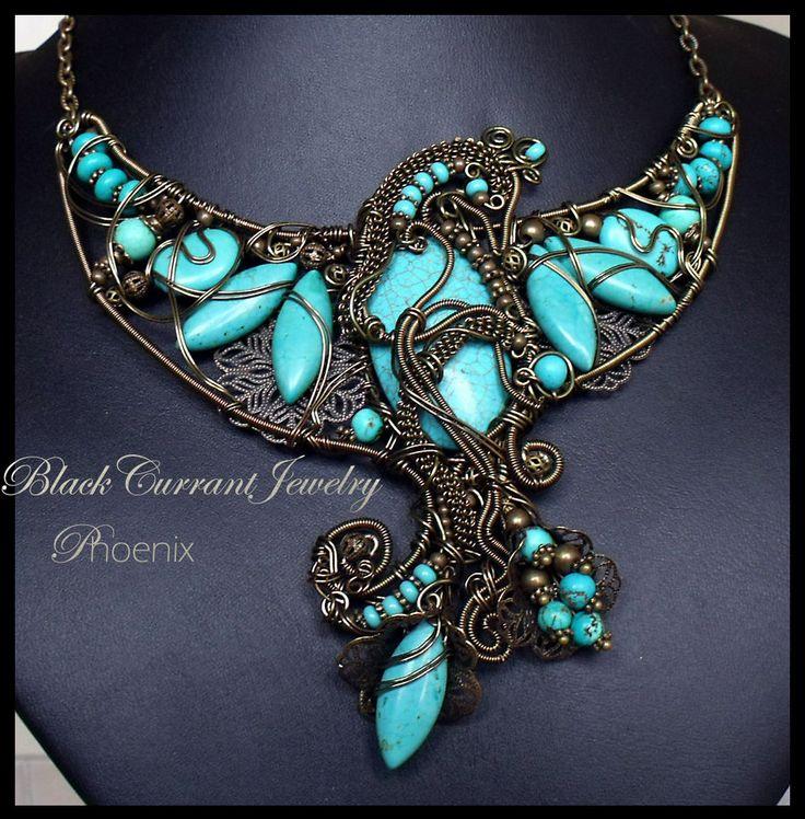 okay wow: Turquoi Stones, Phoenix Jewelry, Turquoise Stones, Jewelry Necklaces, Statement Necklaces, Turquoi Jewelry, Wire Wraps, Turquoi Phoenix, Phoenix Necklaces