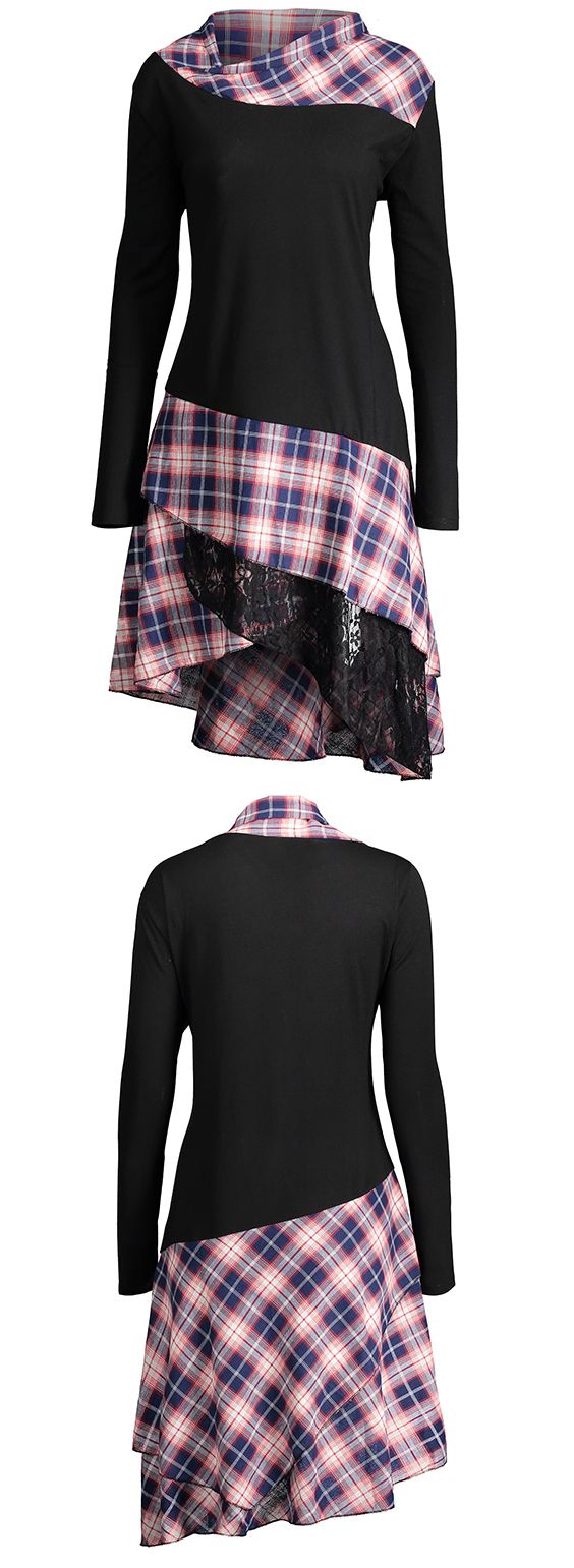 top outfits for women:Lace Plaid Panel Plus Size Long Top