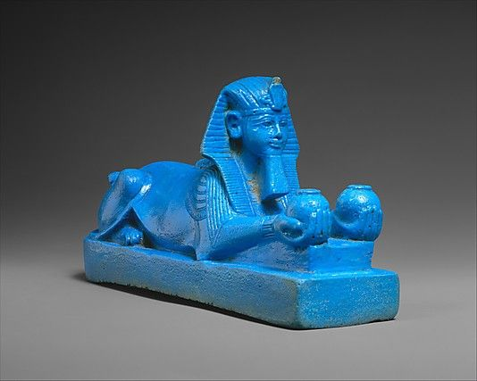 Sphinx of Amenhotep III, possibly from a Model of a Temple  Period: New Kingdom Dynasty: Dynasty 18 Reign: reign of Amenhotep III Date: ca. 1390–1352 B.C. Geography: Egypt, Upper Egypt; Thebes, Karnak possibly Medium: Faience, remains of an Egyptian alabaster tenon
