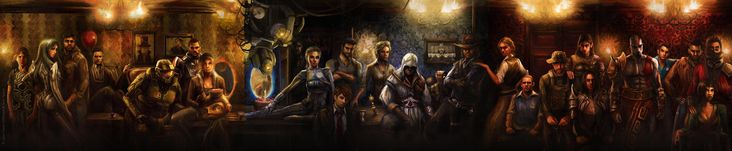 Gorgeous bar scene of famous video game characters. Can you identify them all?