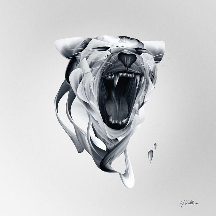 .Digitalart, Big Cat, White Design, Graphicdesign, Illustration, Digital Art, Graphics Design, David Delineator, Retrato-Port Digital
