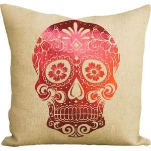 Day of the Dead Sugar Skull Burlap Throw Pillow Color: Red $72.99 by Wayfair