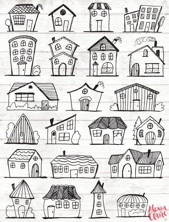 Besorgen Sie sich einige entzückende handgezeichnete Häuser Clipart, perfekt für Logos, Invita