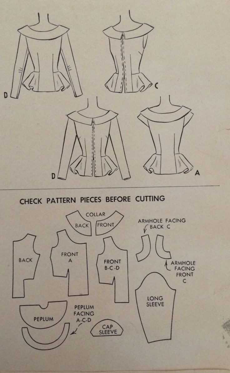 1940's Vintage Summer Peplum Blouses Misses' McCall Sewing Pattern 7191 FF   eBay