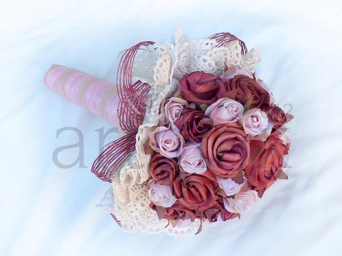 Artiflax - Vintage flax flower wedding bouquet