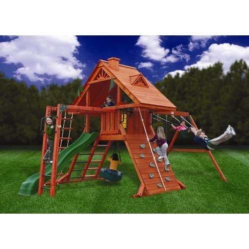 Cedar swing set plans woodworking projects plans for Backyard playset plans