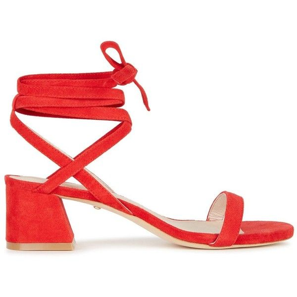 Raye Candy Red Suede Sandals - Size 7.5 (£180) ❤ liked on Polyvore featuring shoes, sandals, red open toe shoes, open toe sandals, red shoes, mid-heel shoes and red block heel shoes