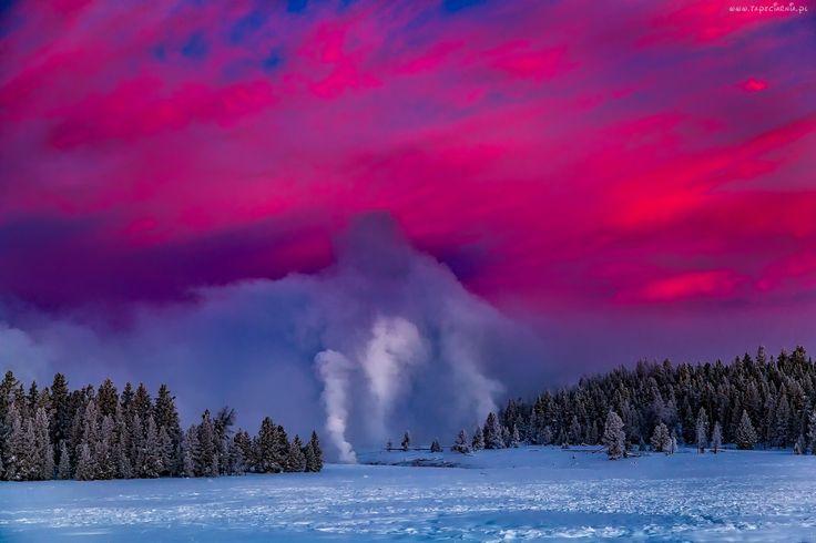 Yellowstone, Park, Narodowy, Stany, Zjednoczone, Gejzery, Zima