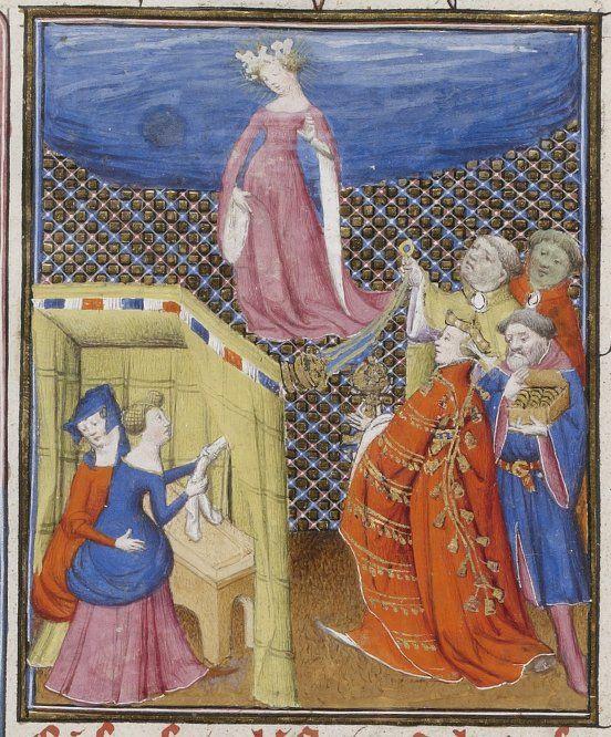 Giovanni Boccaccio, De Claris mulieribus, traduction anonyme en français Livre des femmes nobles et renommees. rows of bezants on one sleeve