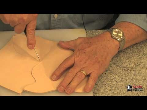 Cutting Leather; soft leather toward the end of the video - use a rotary cutter & right angle ruler
