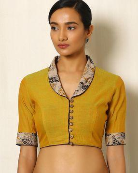 Mangalgiri Cotton Blouse with Kalamkari Print