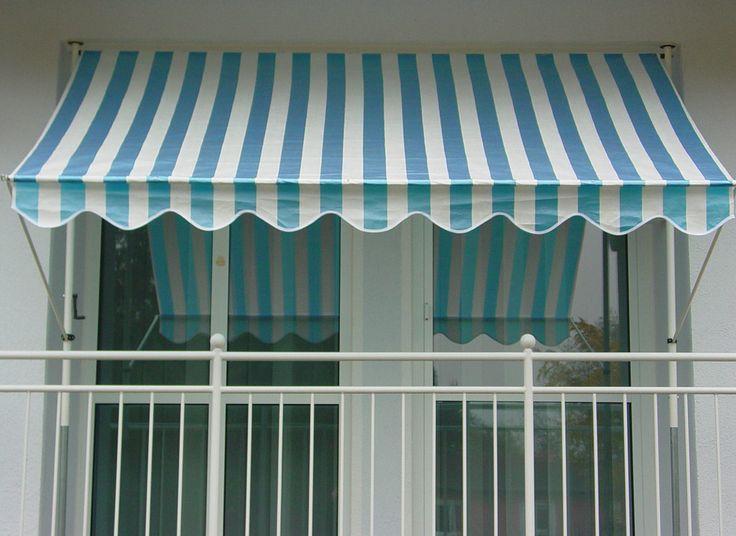 Klemmmarkise Design Blau-Weiss
