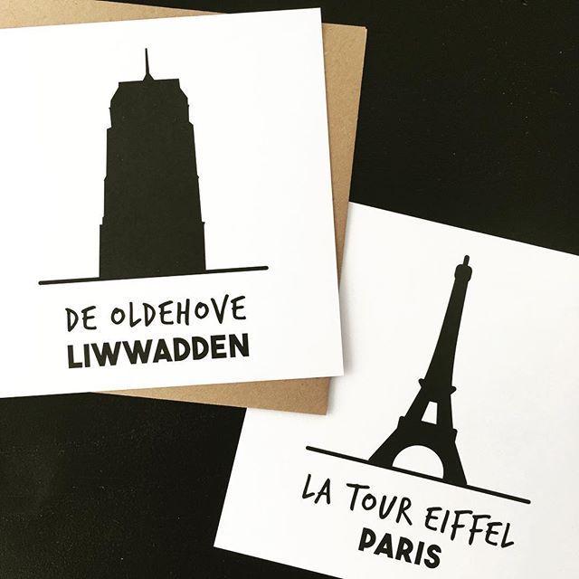 Kaarten, kaarten, kaarten. Er staan heel veel in de shop. Ook deze twee exemplaren. 🖤 . . #kaarten #zwartwit #echtepostiszoveelleuker #oldehove #liwwadden #ljouwert #leeuwarden #eiffeltoren #paris #parijs #shop26negen