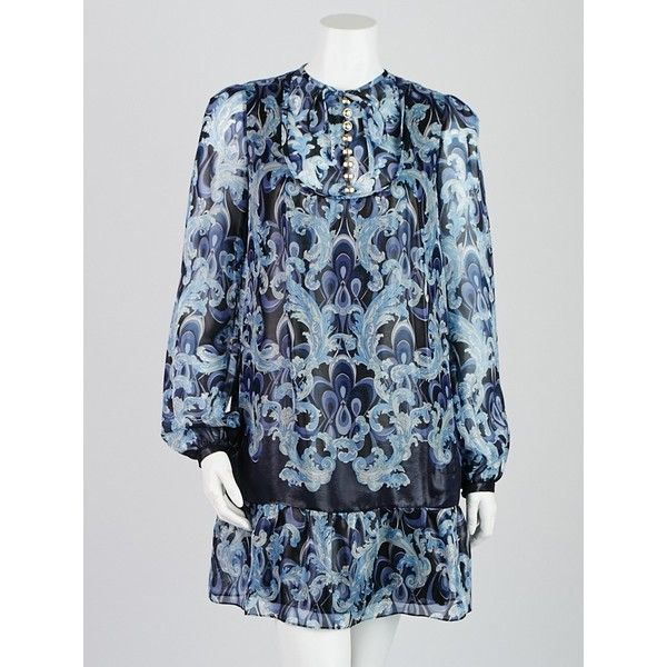 Pre-owned Emilio Pucci Blue Printed Silk Blend Long Sleeve Dress ($295) ❤ like…