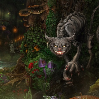 Alice, the Cheshire Cat.  Perfect pic and of the game.