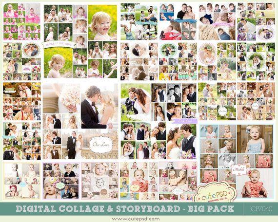 Storyboard Templates Digital Collage Blog Board BIG by CutePSD, $45.00
