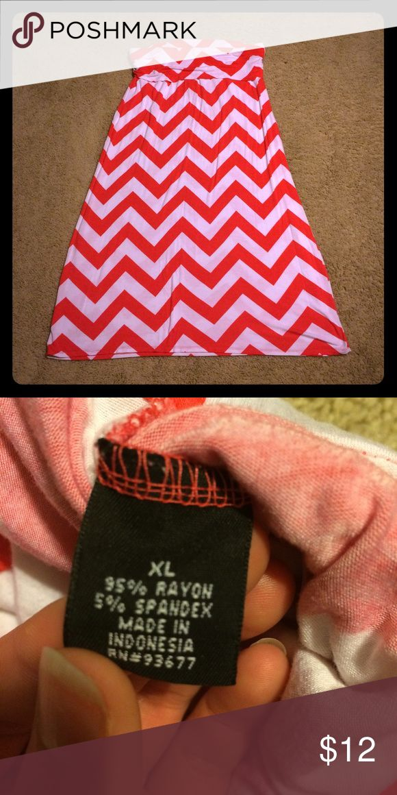 Coral chevron maxi skirt Coral chevron maxi skirt. Has an elastic band around the top. Dresses Maxi