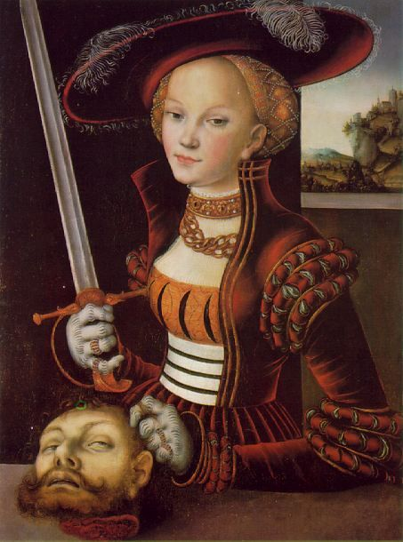 Judith with the head of Holofernes, Lucas Cranach The Elder. (c. 1530). In the apocryphal Book of Judith, the Jewish heroine enters the tent of the Assyrian general Holofernes, seduces him, gets him drunk and chops off his head.
