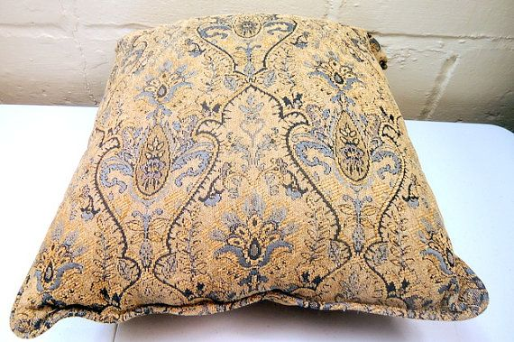 Mid Century Large Damask Blue and Tan Couch by CherryBerryVintage