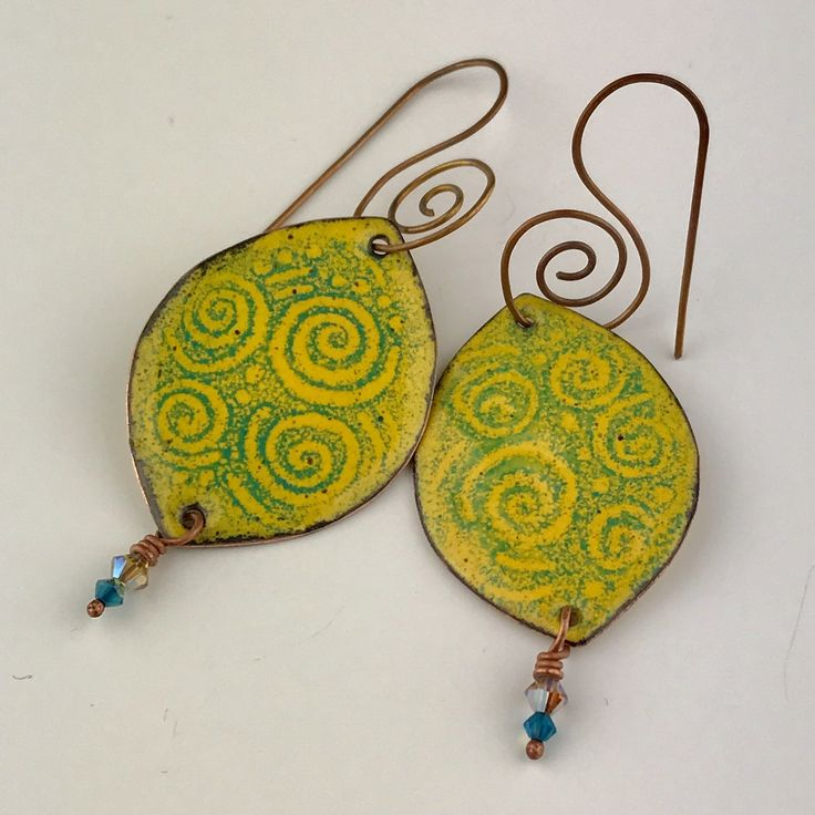 Enameled copper earrings. You can find them at Van Gogh's Ear Gallery in Prescott AZ. Vgegallery.com