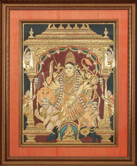 One of the nicest looking Durga Tanjore Paintings I have come across