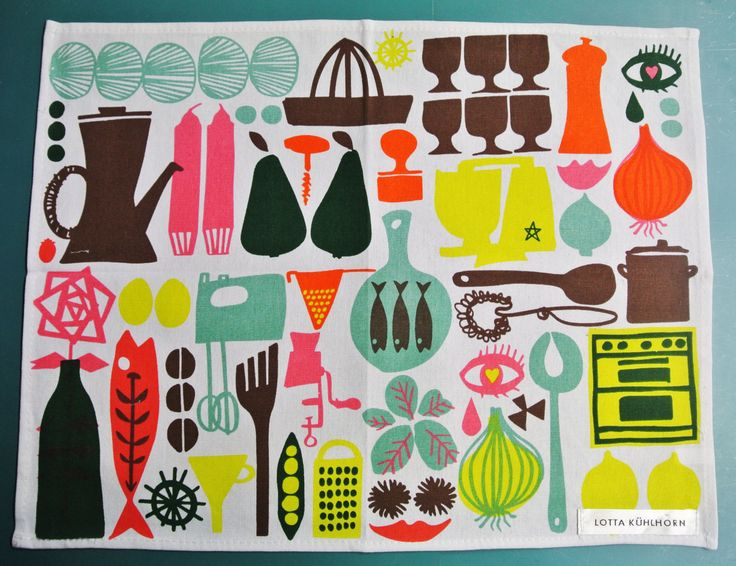 Swedish retro vintage 1990s Lotta Kuhlhorn design printed multicolor kitchen motive cotton tablet/ wall-hanging on white bottomcolor by NORDICARTCURIOSITY on Etsy
