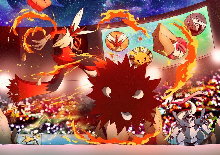 Pokemon fight in tournament fan art Mega Blaziken with Jolteon fight the Mega Aggron and Milotic