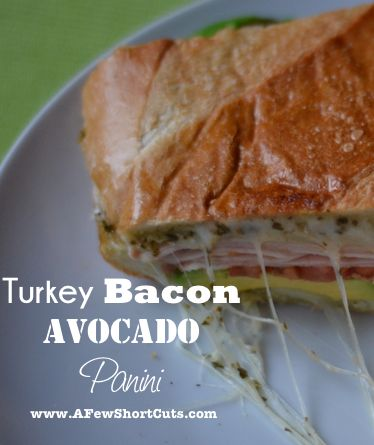 Turkey Bacon Avocado Panini - omitted the turkey and bacon on mine, rob got extra lol...used whole wheat fiber pitas instead of bread, yummm =)