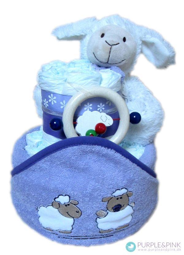 Potte Cake - Diaper Cake med plys får - som #dåbsgaver og #barselsgaver